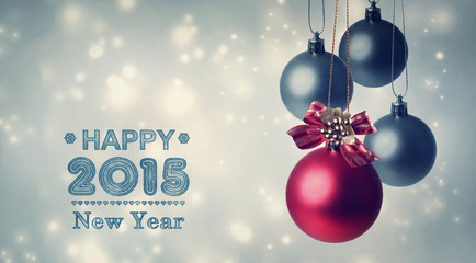 Happy New Year 2015 with Red and gray baubles