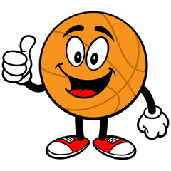 Cartoon Basketball Thumbs Up