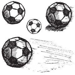 Football soccer ball sketch set isolated on white background