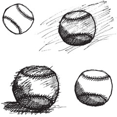 Baseball ball sketch set isolated on white background