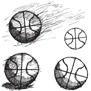 Basketball ball sketch set isolated on white background