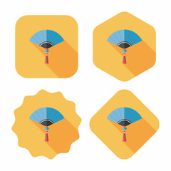 Chinese New Year flat icon with long shadow,eps10, Chinese foldi