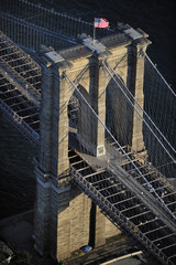 Aerial view of Brooklyn Bridge, Manhattan, New York