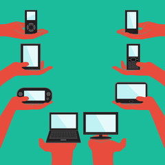 Flat design illustration concept for electronic devices.