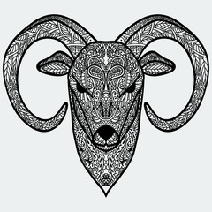 Symbol of year 2015 Black-and-white ornamental head of goat