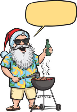 Grilling  Santa with barbecue and beer