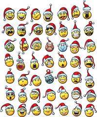 big set of smilies in santa hat