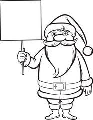 Coloring Book Canta Claus with blank placard