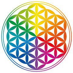 Flower of Life Rainbow Colors With Gradients