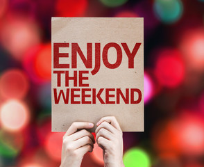 Enjoy The Weekend card with colorful background