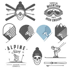 Set of retro ski emblems, badges and design elements