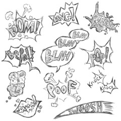 Vector Set of Sketch Comics Phrases and Effects