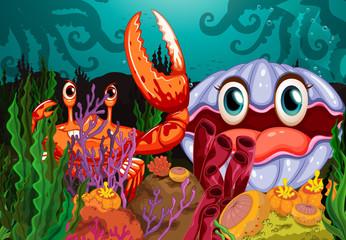 A big crab and a clam