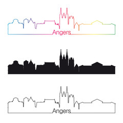 Angers skyline linear style with rainbow