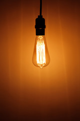 vintage electric bulb lamp with warm light