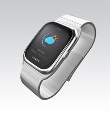 Silver smart watch display climate information