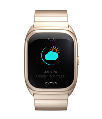 Gold smart watch display climate information
