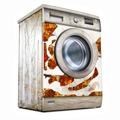 Waschmaschine, defekt und verrostet, freigestellt