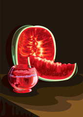 Watermelon and juice vector illustration