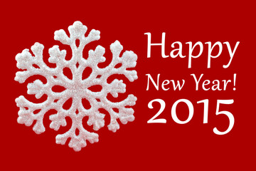 White Snowflake on red background. Winter symbol