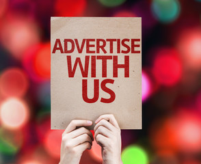 Advertise With Us card with colorful background
