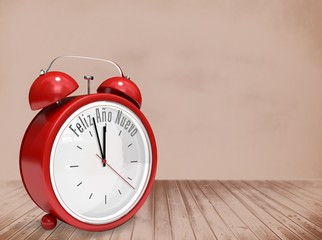 Composite image of feliz ano nuevo in red alarm clock