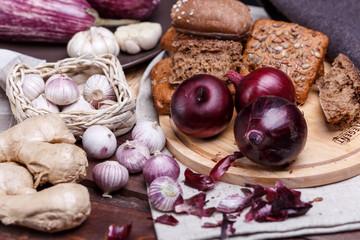 onion, bread and garlic