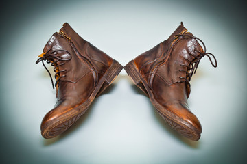 cool men's leather shoes handmade. old school shoes top view