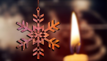 Composite image of hanging snowflake