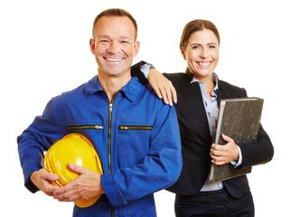 Arbeiter mit Geschäftsfrau als Team