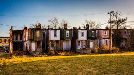 Abandoned row houses in Baltimore, Maryland. Wall mural