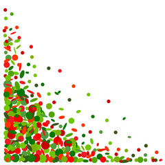 Background with confetti in red and green
