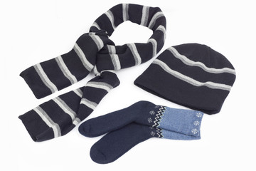 Scarf , stockings and cap isolated on white background