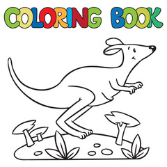 Coloring book of little kangaroo