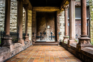 Entrance to an old cathedral in Boston, Massachusetts.