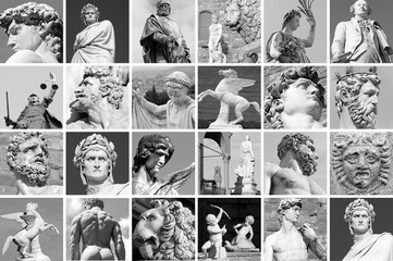 collage with images of sculptures from  Florence