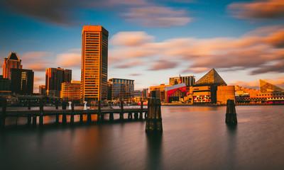 Evening long exposure of the Baltimore Inner Harbor Skyline, Mar
