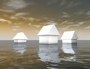 3d white houses under water, natural catastrophes
