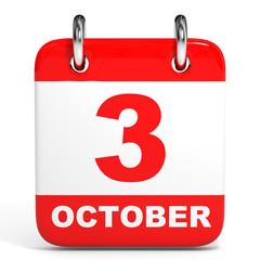 Calendar. 3 October.