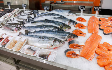 Raw fish ready for sale in the supermarket