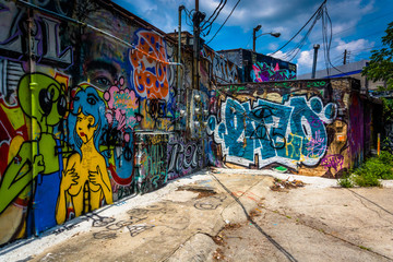 Graffiti on walls in an alley in Little Five Points, Atlanta, Ge