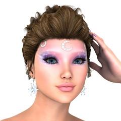 女性の顔アップ