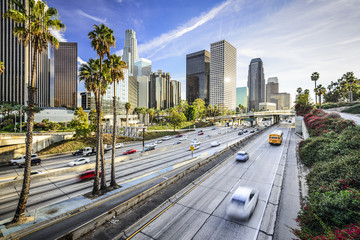 Foto op Plexiglas Los Angeles Los Angeles, California Skyline over the Highway