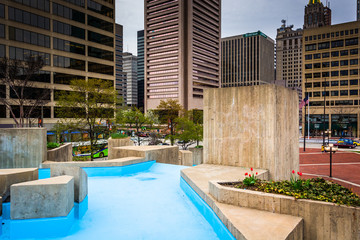 Pools and gardens at McKeldin Square in Baltimore, Maryland.