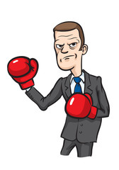 caricature angry businessman with boxing gloves