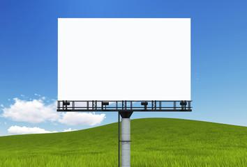 Blank big billboard over tree landscape background, put your tex