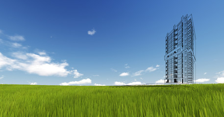 Wireframe Building on green grass and blue sky. Extremely high d