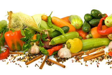Isolated image of many raw vegetables on a white background