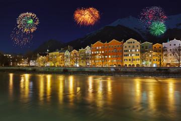 Wall Mural - Fireworks in Innsbruck Austria