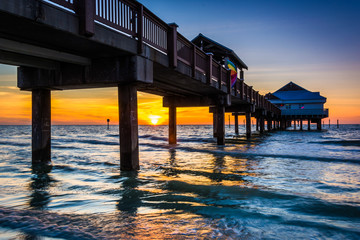 Fishing pier in the Gulf of Mexico at sunset,  Clearwater Beach,